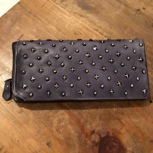 All leather wallet with studs